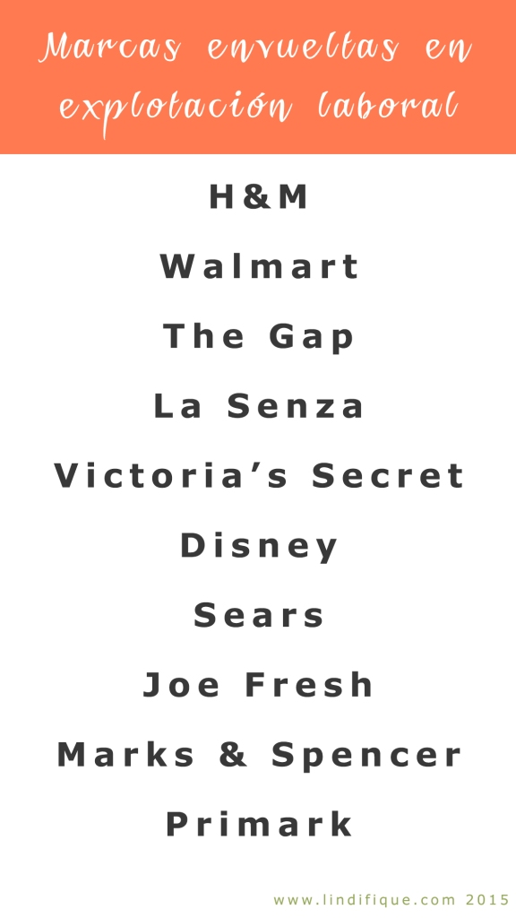 Blacklist of clothing brands involved in exploitaition