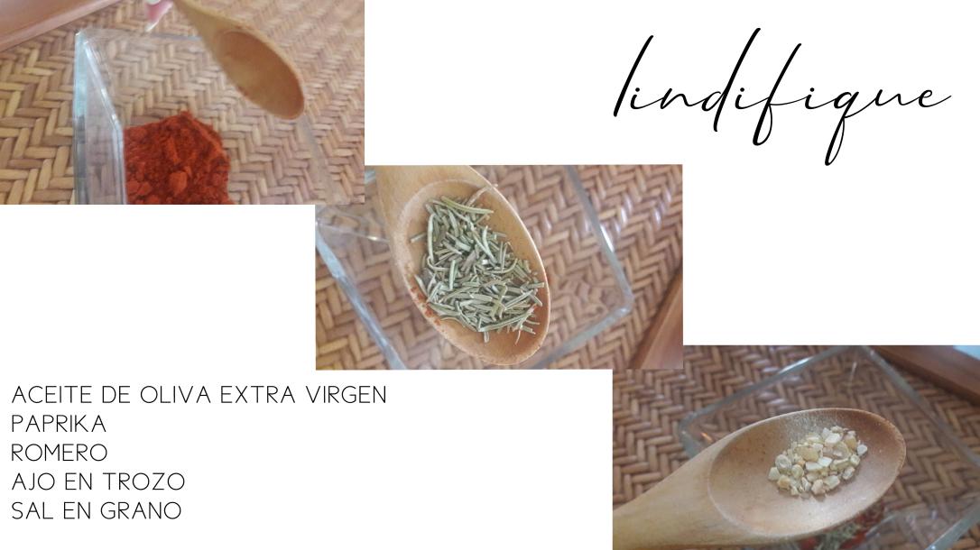 Ingredientes de salsa para palomitas de maíz con aceite de oliva y paprika